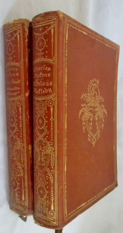 Antique CHARLES DICKENS NICHOLAS NICKELBY OLIVER TWIST Leather Book GERMAN