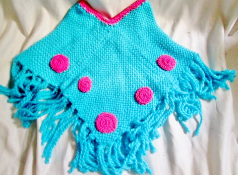 New ATELIER ADONAY Handmade LOOM Poncho Cape Jacket Hippie AQUA BLUE Girls FRINGE Ethnic