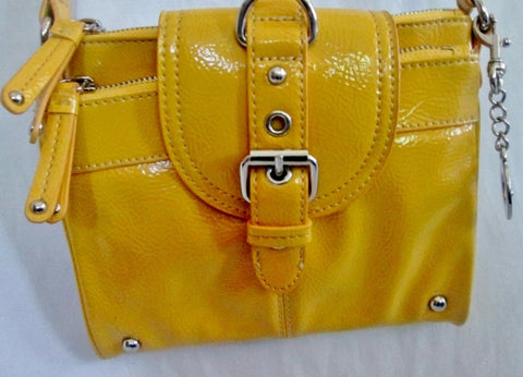 NEW NINE WEST Vegan Shoulder Bag Crossbody Purse Swingpack Wallet YELLOW S