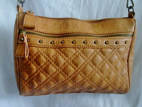 NEW CARLOS SANTANA Quilted Vegan Shoulder Bag Satchel COGNAC BROWN