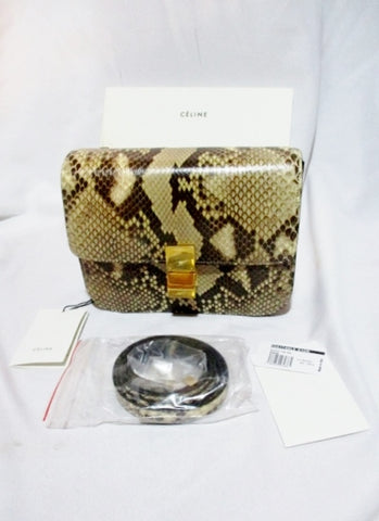 NEW CELINE MEDIUM FLAP BAG Leather NATURAL SNAKE PYTHON Purse NWT