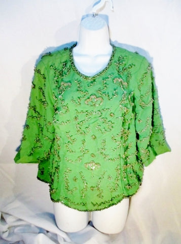 Vintage Handmade 1960s 70s Womens Beaded Top Shirt Back Zip M GREEN SILVER