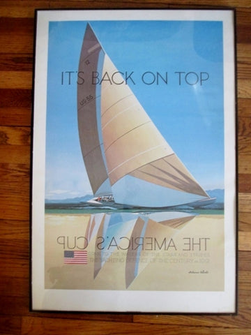 1991 MELBOURNE BRINDLE AMERICA'S CUP Print ART Poster YACHT Nautical RACE BOAT