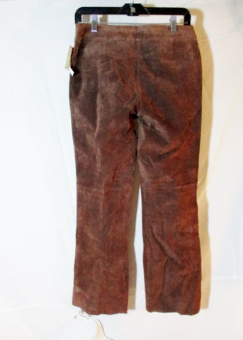 NEW NWT Womens SUTTON STUDIO PETITE Suede Leather Pant BROWN 8