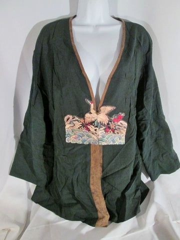 NEW NWT Womens FCE Silk Cardigan Jacket XL DUCK BIRD EMBROIDERED BLACK Asian