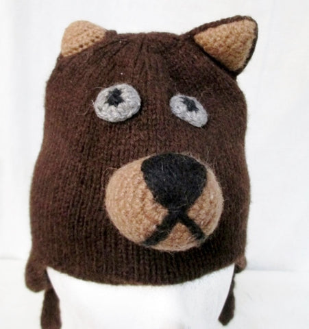 Infant Girls Boys Toddler Baby ARTESANIA Knit KIDS Ear Flap HAT BROWN BEAR Alpaca