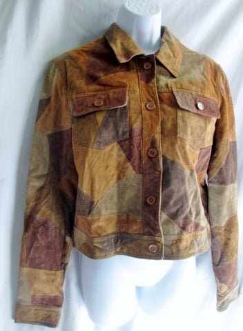 Womens NEWPORT NEWS PATCHWORK LEATHER suede jacket Moto Coat 10 BROWN TAN Riding