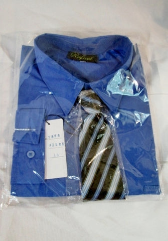 NEW BOYS RAFAEL Dress Shirt Tie Set 16 AZURE BLUE Recital Party Wedding