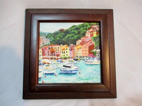 SIGNED ANTONIO SINISGALLI Original PAINTING Frame ART Lerci ITALY Nautical Sea