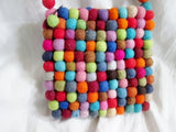 Handmade Boiled Wool Vegan POM POM Crossbody Shoulder Bag COLORFUL Multi-Color