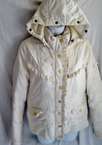 Womens JUICY COUTURE Ruffled Pleated Hoodie Hood Jacket Coat M WHITE Steampunk Victorian