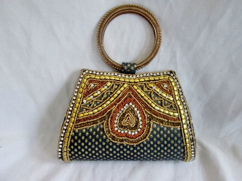 Embroidered Beaded Metallic Festival Loop Hoop Vegan Ethnic Bag Clutch Cute S