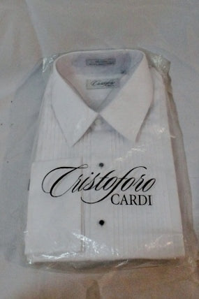 NEW Mens CRISTOFORO CARDI Fitted Dress Shirt WHITE 17 - 32/33 Formal Tuxedo