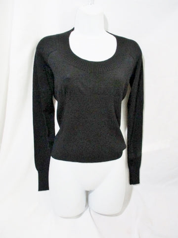 NEW NWT GIVENCHY PARIS Wool Sweater Ribbed Top BLACK S Scoop Neck Womens