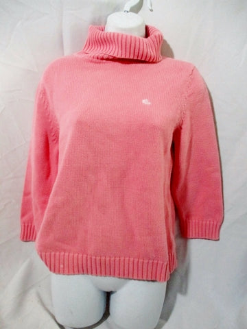 Womens RALPH LAUREN TURTLENECK Knit Top Sweater M PINK Cotton