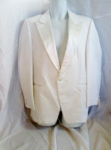 Vintage 70s 80s DYNASTY After Six Tuxedo Sport Jacket Suit Blazer 37R WHITE Formal