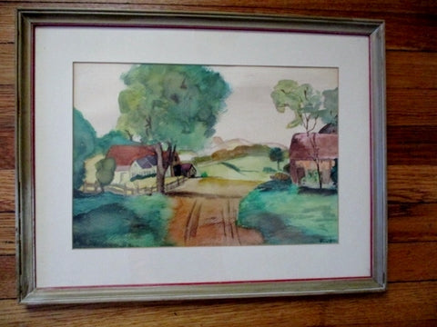 Original Signed Country House Road Watercolor Painting ART FRAME GREEN BROWN