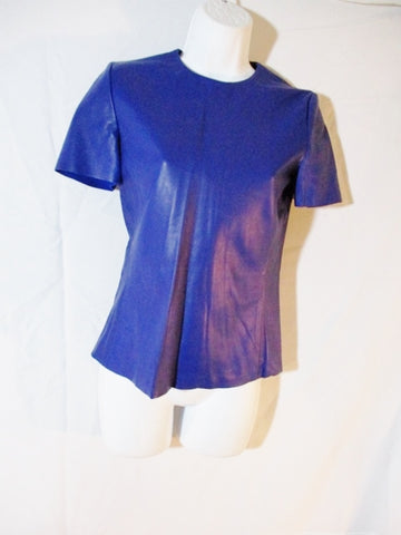 New CELINE ITALY LAMBSKIN LEATHER Top Shirt 38 BLUE Short Sleeve Womens