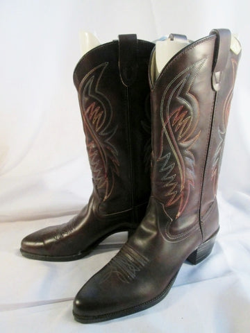 Womens BRONCO AMERICAN MADE Western Cowboy Leather BOOT 9.5 BROWN USA Stitch