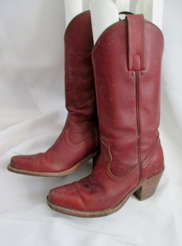 Womens Youth FRYE Leather BOOTS 09040 Riding Cowboy Boot BROWN RED 5.5 USA