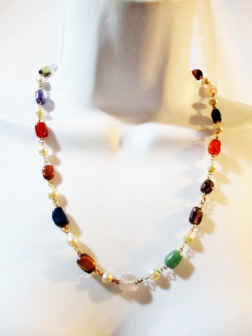 "20.5"" Stone Pearl Bead 12K GF GOLD Necklace Choker Collar COLORFUL"