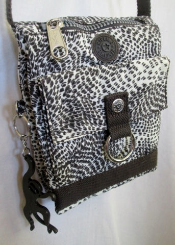 NEW KIPLING Vegan Messenger Bag Crossbody Swingpack Purse BROWN WHITE MONKEY