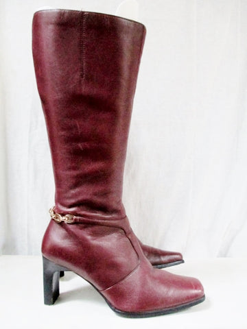 Womens MADELINE ASHTON Leather High Heel Boot Shoe BURGUNDY WINE RED 7.5