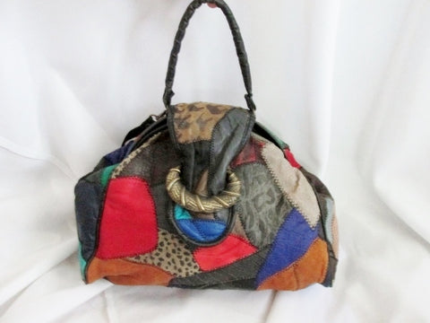 NEW PACIFIC EXPRESS PATCHWORK suede leather satchel shoulder bag Purse Colorful Hippie