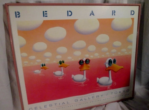 "Vintage 1988 MICHAEL BEDARD FIRST DUCKS ON MARS 26X22"" POP ART TOKYO GALLERY"