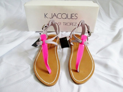 NEW Womens K. JACQUES ST TROPEZ SANDAL SHOE PINK LEATHER 36 5.5 Thong