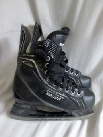 Youth BOYS BAUER SUPREME Performance Ice Hockey Skates Leather 5D BLACK