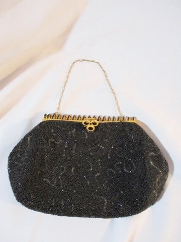 Vintage MADE IN FRANCE Bead Evening Bag Purse BLACK Clutch GOLD Swirly Retro