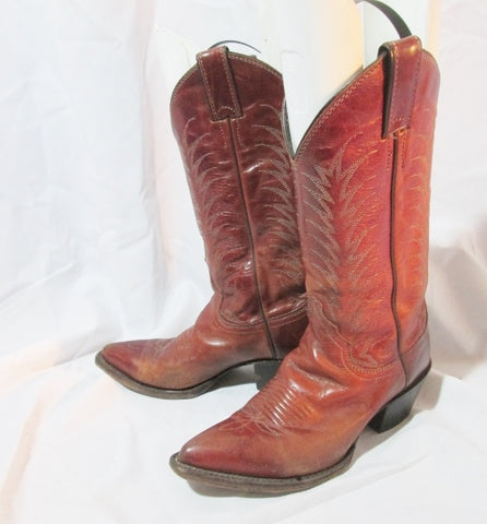Womens JUSTIN 4606 Western Cowboy Rocker Riding Leather BOOT 5.5 BROWN
