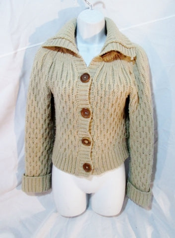 Womens HOLLISTER Ethnic Nordic Ski Cardigan Sweater ECRU BEIGE M Wool Blend