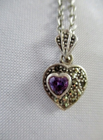 STERLING SILVER MARCASITE AMETHYST HEART Necklace Noveau Deco Jewelry