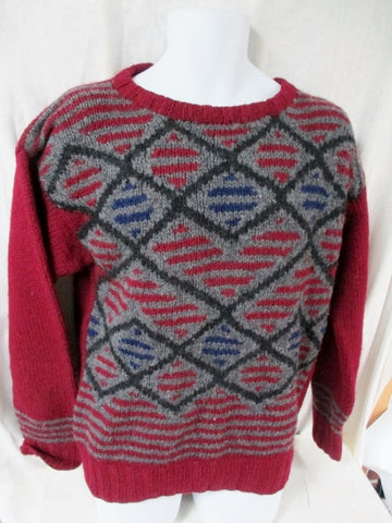 Mens HENRY GRETHEL Winter Knit Ski SHETLAND Sweater S Wool GRAY RED Christmas