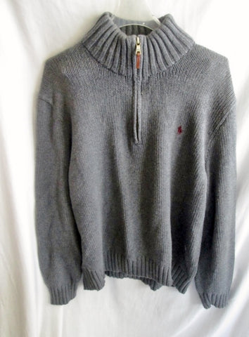 Mens POLO RALPH LAUREN Knit Ski Holiday Wool SWEATER Top Half Zip XL GRAY GREY