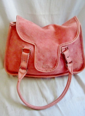 Boutique Suede leather tote satchel shoulder bag boho BUBBLE GUM PINK L