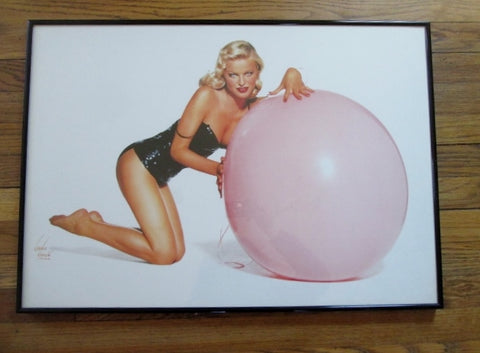 Vintage NORMA KAMALI COVER GIRL Pinup ART PHOTOGRAPH Fashion PINK BALL Frame