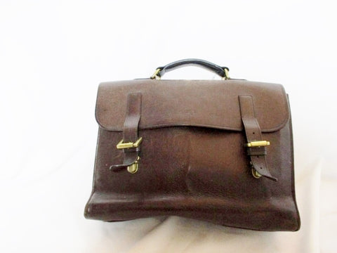 MULBERRY Leather Flap Laptop Bag Briefcase Attache BROWN Distressed