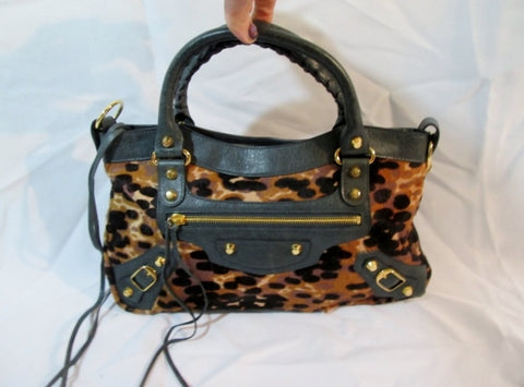 NEW BALENCIAGA PARIS BAG Satchel LEOPARD FUR ITALY Leather Animal Print