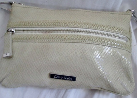 CALVIN KLEIN REPTILE LEATHER SNAKESKIN Python Shoulder Bag Crossbody TAN CREME