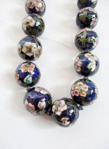 "24.5"" Handmade Knot CLOISONNE Enamel Glass Bead Necklace BLUE FLORAL Statement China"