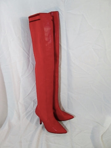 Womens CHERRY RED Clingy Thigh High Stiletto GOGO Boot FETISH 41 10.5