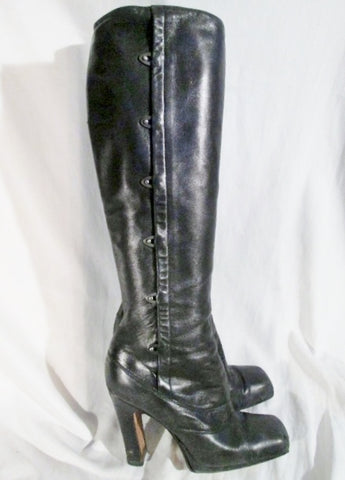 MICHEL PERRY ITALY LEATHER Latch BOOT GRANNY Victorian Steampunk BLACK 6.5 / 37