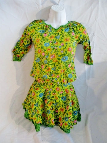 Girls LA FIANCEE DU MEKONG Skirt Top Dress Set FLORAL GREEN 6A Kids Youth