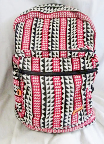 PARCEL Aztec Mexican Style Rucksack Daytripper BACKPACK BAG WHITE BLACK RED Vegan
