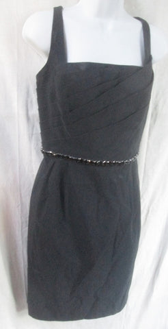 WOMENS CARMEN MARC VALVO Dress Sleeveless Gown 12 BLACK Jet Glass Belt