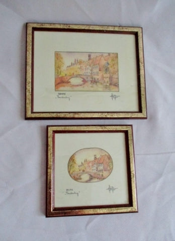 Vintage Set 2 Lot Gilt Frame BRUGGE BELGIUM PEERDENHUG Picture Print ART Mini