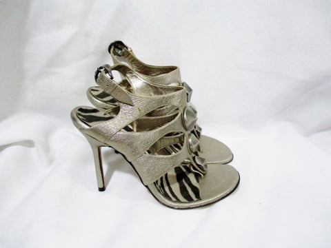 MANOLO BLAHNIK Leather Thong Sandal GOLD STUD 36.5 6 Shoe High Heel ITALY Strappy